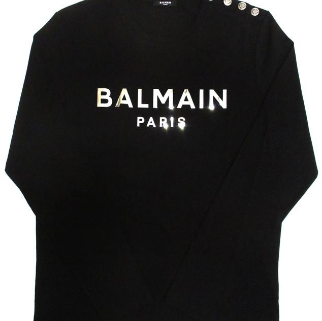 バルマン(BALMAIN) メンズ トップス ロンT 長袖 ロゴ 2color 肩部分BALMAINロゴ刻印コンチョボタン・メタリックロゴ付きロングTシャツ 白/黒 UH11270 I397 GAC/EAC