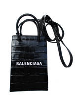 バレンシアガ(BALENCIAGA) レディース 鞄 バッグ トートバッグ ロゴ 2color 2WAY・クロコ型押し加工・BALENCIAGAロゴ付きカーフレザーミニトートバッグ ピンク/黒 593826 1U61N 5860/1090