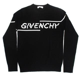 ジバンシー(GIVENCHY) メンズ トップス ニット セーター ロゴ フロントGIVENCHYロゴ付きライトクルーネックニット 黒 BM96B4 404X 004