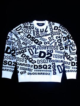 ディースクエアード(DSQUARED2) メンズ トップス ニット セーター ロゴ 総柄DSQUARED2ロゴ付きクルーネックニット 白 S74HA1097 S17436 961