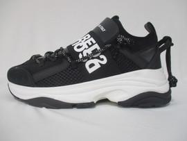 ディースクエアード(DSQUARED2) メンズ 靴 スニーカー ロゴ 2color DSQUARED2ロゴベルト・かかと部分紐付き厚底スニーカー 白/黒 SNM0048 16502617 1062/2124