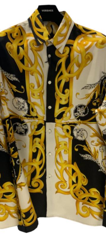 ヴェルサーチ(VERSACE) メンズ トップス シャツ 長袖 ロゴ シルク100%・VERSACEバロック柄総柄プリント付きシャツ マルチカラー A87419 A235781 A7027
