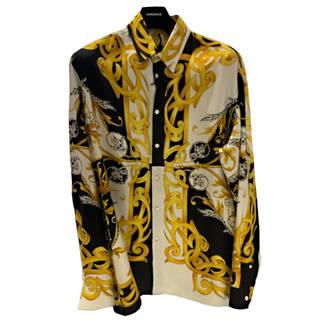 ヴェルサーチ(VERSACE) メンズ トップス シャツ 長袖 ロゴ シルク100%使用・VERSACEバロック柄総柄プリント付オーバーサイズシャツ マルチカラー A84050 A235781 A7027