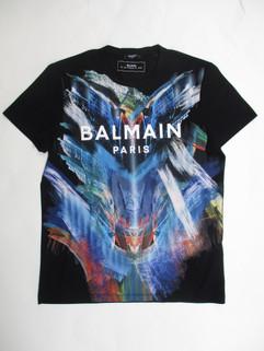 2020年春夏新作 バルマン(BALMAIN) メンズ トップス Tシャツ 半袖 ロゴ マルチペイント・BALMAINロゴ入りTシャツ ブラック TH11601 I251 AAA