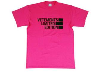 ヴェトモン(VETEMENTS) メンズ トップス Tシャツ 半袖 ロゴ 5色展開 LIMITED EDITION フロントVETEMENTSロゴ・バックロゴ刺繍付オーバーサイズTシャツ レッド/ピンク/イエロー VE51TR810R/P/Y 1611 RED/PINK/YELLOW (R56100)