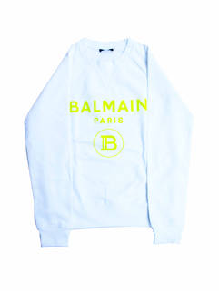 バルマン(BALMAIN) メンズ トップス スウェット トレーナー ロゴ 2color 前Vガゼット・BALMAINイエローロゴ付きスウェット 白/黒 VH0JQ005 B093 GBC/EAQ (R74800)