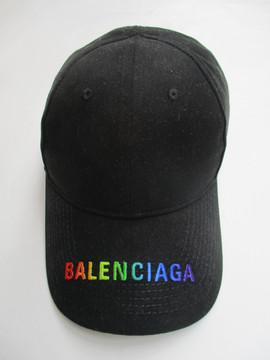 バレンシアガ(BALENCIAGA) メンズ 帽子 キャップ ロゴ ユニセックス可 レインボーカラーBALENCIAGAロゴ刺繍入りキャップ ブラック 564206 410B2 1000