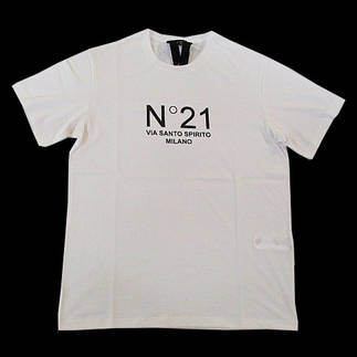 ヌメロヴェントゥーノ(N°21) メンズ トップス Tシャツ 半袖 ロゴ 2color フロントN°21ロゴプリント付きTシャツ 白/黒 F032 6316 1101/9000 (R28600)