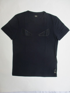 フェンディ(FENDI) メンズ トップス Tシャツ 半袖 ロゴ バッグバグズラバースタッズロゴ・裾部分FENDIタグ付Tシャツ ネイビー FY0626 OKM F0CRH