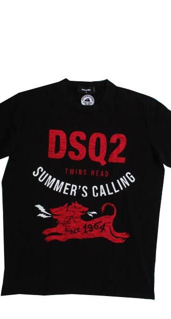 ディースクエアード(DSQUARED2) メンズ トップス Tシャツ 半袖 ロゴ 2color ツインヘッド/ケルベロスロゴ・DSQ2ロゴプリント付きTシャツ 白/黒 S71GD1052 S22427 100/900 (R35200)