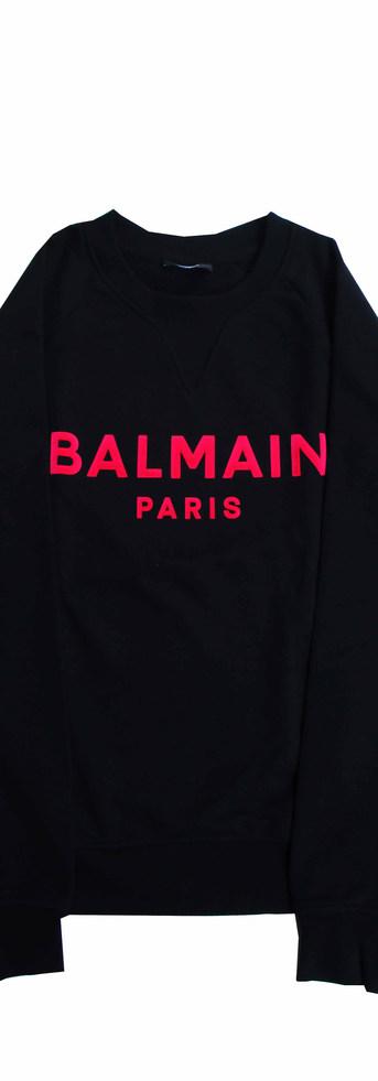 バルマン(BALMAIN) メンズ トップス スウェット トレーナー ロゴ 2color 前Vガゼット・BALMAIN PARISピンクカラーロゴ付スウェット ホワイト/ブラック VH0JQ005 B042 GFL/ECX (R73700)
