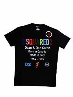 ディースクエアード(DSQUARED2) メンズ トップス Tシャツ 半袖 カットソー ロゴ レインボーカラーDSQUARED2ロゴ・マルチロゴ付Tシャツ ブラック S74GD0855 S23009 900 (R53900)