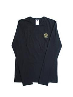 ヴェルサーチ VERSACE メンズ トップス Tシャツ ロンT 長袖 2color チェスト部分メデューサ付きVERSACEロゴ入りロングTシャツ ホワイト ブラック AUU01007 A232741 A1008 (R12100)
