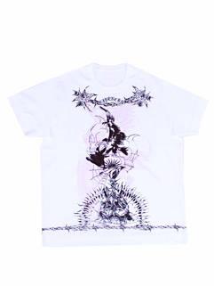 ジバンシー(GIVENCHY) メンズ トップス Tシャツ 半袖 ロゴ マルチグラフィティーアートプリント(スカル/鳥/鎖/炎)・オーバーサイズTシャツ ホワイト BM71583 Y6B 100 (R78100)