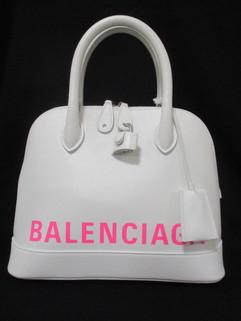 バレンシアガ(BALENCIAGA) レディース 鞄 バッグ トートバッグ ロゴ ユニセックス可 ショルダーストラップ付BALENCIAGAピンクロゴ入りレザートート ホワイト 550645 1IZ33 9066