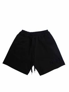 ヌメロヴェントゥーノ(N°21) メンズ パンツ ボトムス ハーフパンツ ロゴ 2color 裾部分N°21ロゴワッペン・サイドライン付ハーフスウェットパンツ 黒/グレー D041 6315 9000/8993 (R46200)