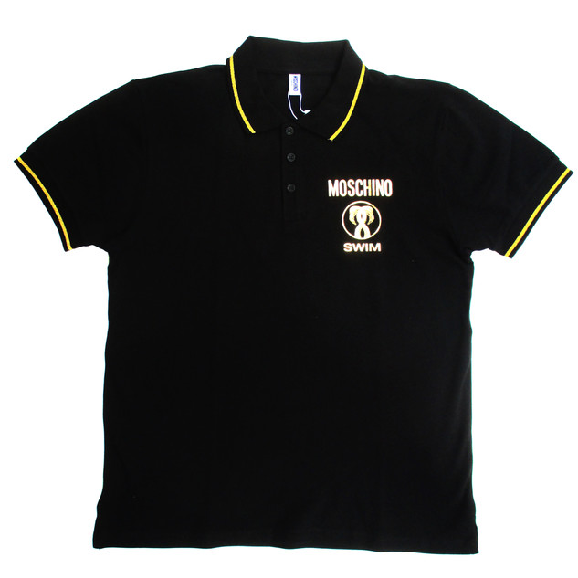 モスキーノ(MOSCHINO) メンズ トップス シャツ ポロシャツ 半袖 ロゴ 2color チェスト部分MOSCHINOゴールドロゴ・フラミンゴプリントポロシャツ 白/黒 A1303 2311 1/555