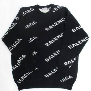 バレンシアガ BALENCIAGA レディース トップス ニット セーター ロゴ 2color ユニセックス可 総柄BALENCIAGA斜めロゴ付きクルーネックニット 灰/黒 555273 T1471 1262 / 1070