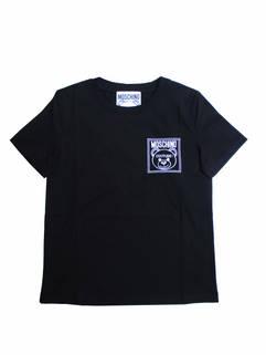 モスキーノ(MOSCHINO) レディース トップス Tシャツ 半袖 ロゴ チェスト部分MOSCHINO BEARロゴ刺繍付きTシャツ ブラック A0709 5540 3555 (R28600)