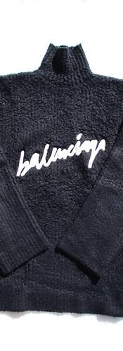 バレンシアガ(BALENCIAGA) メンズ トップス ニット セーター ロゴ ロールネック・フロントBALENCIAGAロゴワッペン付きオーバーサイズニット ネイビー 628649 T3182 8065