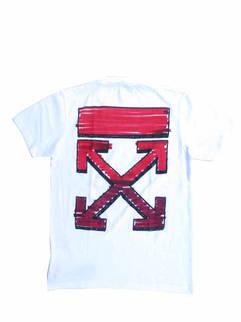 オフホワイト(OFF-WHITE) メンズ トップス Tシャツ 半袖 ロゴ 2color チェスト部分ハンドロゴ・バックグラフィティーアローロゴプリント付Tシャツ 白/黒 OMAA027R 21JER003 0125/1032 (R41800)