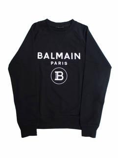 バルマン(BALMAIN) メンズ トップス スウェット トレーナー ネック部分前Vガゼット・フロントBALMAINロゴプリント付きクルーネックスウェット VH1JQ005 B027 0PA (R73700)