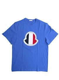 モンクレール(MONCLER) メンズ トップス Tシャツ 半袖 ロゴ 2color トリコロールカラーMONCLERメッシュロゴ付Tシャツ 白/青 8C7B440 8390T 001/70B (R40700)