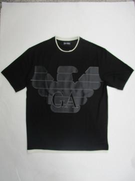 エンポリオアルマーニ(EMPORIO ARMANI) メンズ トップス Tシャツ 半袖 ロゴ 重ね着デザイン GAロゴ・ビッグイーグルロゴ付レイヤードデザインTシャツ 黒 3H1TM0 1JCQZ G002