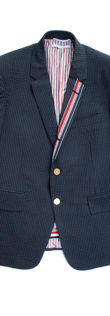 トムブラウン(THOM BROWNE) メンズ アウター ジャケット ロゴ アンカーロゴ刻印ボタン・裏地/襟部分トリコロール柄・袖口裏トリコロールライン付きテーラードジャケット MJC159V 06147 415