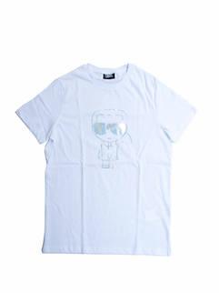 カールラガーフェルド(KARL LAGERFELD) メンズ トップス Tシャツ 半袖 ロゴ 2color KARL LAGERFELDメタリックシルバーロゴプリント付Tシャツ 白/黒 755046 511224 10/990 (R20900)