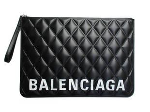 バレンシアガ(BALENCIAGA) メンズ 鞄 バッグ クラッチバッグ ロゴ ユニセックス可 BALENCIAGAロゴ付きレザークラッチバッグ ブラック 630626 1WN53 1000