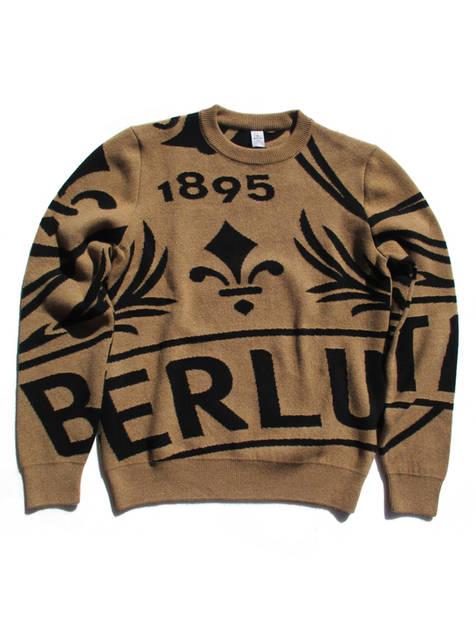 ベルルッティ(BERLUTI) メンズ トップス ニット セーター ロゴ 2color カシミヤ100%・総柄BERLUTIマルチロゴ付きクルーネックニット ブラウン/ブルー R18KRL159 001 108/N32