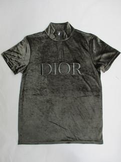 ディオールオム(DIOR HOMME) メンズ トップス Tシャツ ポロシャツ ロゴ 2color DIORロゴ刺繍入りハーフジップテクニカルベルベットTシャツ ブラック系/カーキ 943J654A 0585 988/686