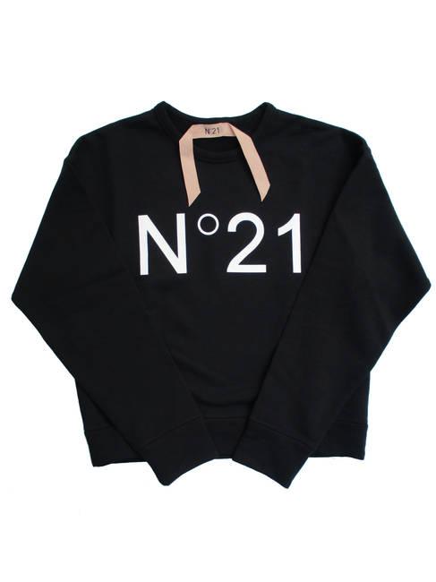 ヌメロンベントゥーノ(N°21) レディース トップス スウェット トレーナー ロゴ 2color フロントN°21ロゴプリント付きスウェット 白/黒 E021 6313 1101/9000