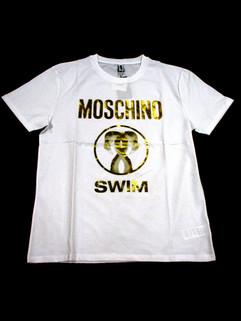 モスキーノ(MOSCHINO) メンズ トップス Tシャツ 半袖 ロゴ 2color MOSCHINOゴールドロゴ・フラミンゴロゴ付Tシャツ 白/黒 A1910 2303 0001/0555