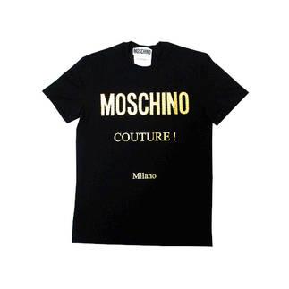 モスキーノ(MOSCHINO) メンズ トップス Tシャツ 半袖 ロゴ 2color フロントMOSCHINOゴールドロゴワッペン付きTシャツ 白/黒 ZDA0771 0240 1001/1555 (R49500)