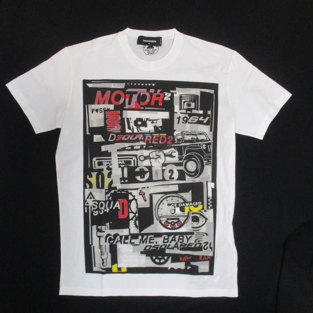 2020年春夏新作 ディースクエアード(DSQUARED2) メンズ トップス Tシャツ 半袖 ロゴ DSQUARED2ロゴ・マルチプリント付きTシャツ 白 S74GD0653 S22427 100