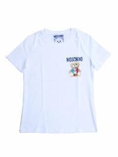 モスキーノ(MOSCHINO) レディース トップス Tシャツ 半袖 2color チェスト部分MOSCHINOロゴ・イタリア風BEARロゴプリント付きコットンTシャツ EV0709 0540 1555/1001 (R39600)