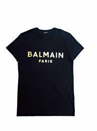 バルマン(BALMAIN) メンズ トップス Tシャツ 半袖 ロゴ 3color BALMAIN PARISゴールドロゴプリント付Tシャツ 白/黒/グレー VH1EF000 B065 0FA/0PA/9UB