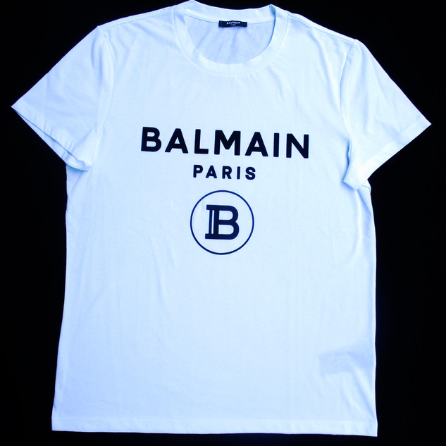 バルマン BALMAIN メンズ メンズ トップス Tシャツ 半袖 ロゴ 2color BALMAINロゴ・Bロゴ入り付きTシャツ 白/黒 UH11601 I372 EAB/GAB