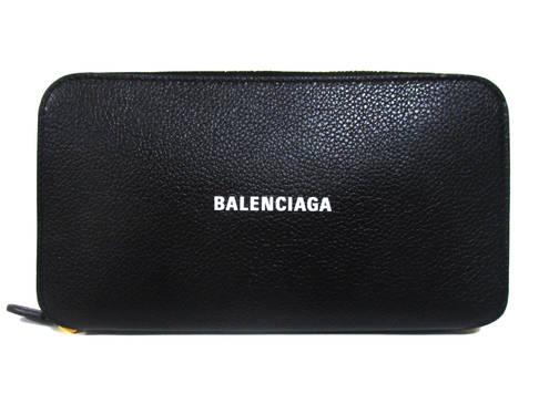 バレンシアガ(BALENCIAGA) メンズ 財布 ウォレット 長財布 ロゴ ユニセックス可 ZIPロゴ刻印・BALENCIAGAロゴ付きレザーロングウォレット 黒 594290 1IZIM 1090