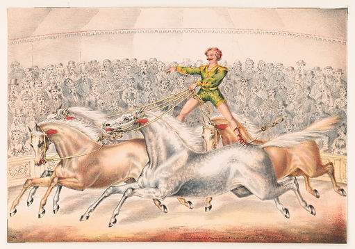 Circus_performer_riding_two_horses_at_on