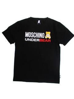 モスキーノ(MOSCHINO) メンズ トップス Tシャツ 半袖 ロゴ 2color MOSCHINOロゴ・MOSCHINOベアーロゴプリント・ロゴタグ付きクルーネックTシャツ 白/黒 A1914 8103 1/555