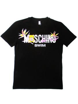 モスキーノ (MOSCHINO) メンズ トップス 半袖 Tシャツ ロゴ MOSCHINOSWIMロゴ・ベアー/フラワー入りTシャツ ブラック 1909 2303 0555