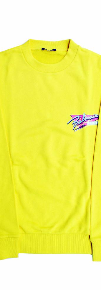 バルマン(BALMAIN) メンズ トップス スウェット トレーナー ロゴ BALMAINポップロゴプリント付クルーネックスウェット イエロー VH1JQ010 G040 1KD (R73700)