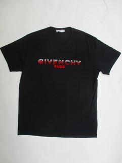 2020年春夏新作 ジバンシー(GIVENCHY) メンズ トップス Tシャツ 半袖 ロゴ パイル地GIVENCHYロゴ付Tシャツ ブラック BM70UY 3002 001