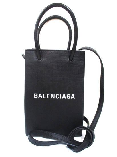 バレンシアガ(BALENCIAGA) レディース 鞄 バッグ 2WAYバッグ ロゴ ユニセックス可 BALENCIAGAロゴ付きレザー2WAYミニバッグ ブラック 593826 0AT2N 1000