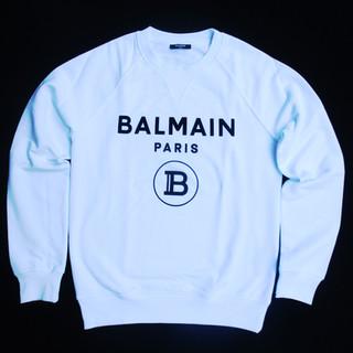 バルマン(BALMAIN) メンズ トップス スウェット トレーナー 長袖 ロゴ 2color 前Vガゼット・BALMAINロゴプリント付スウェット 白/黒 UH13279 I372 GAB/EAB