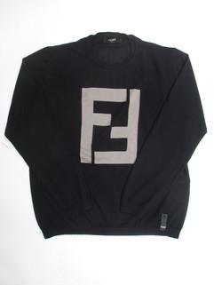 2020年春夏新作 フェンディ(FENDI) メンズ トップス ニット セーター ロゴ カシミヤ使用 ビッグFFズッカロゴ入りカシミヤシルクセーター ブラック 黒 FZZ371 A2E1 F0QA1