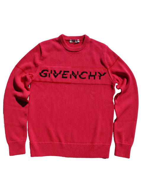 ジバンシー(GIVENCHY) メンズ トップス ニット セーター ロゴ 2color フロントGIVENCHYロゴ付きライトクルーネックニット 黒/ピンク BM90B4 404X/401M 004/675